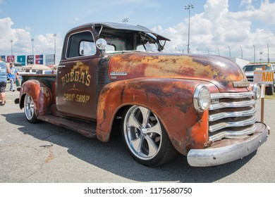 CONCORD, NC (USA) - September 7, 2018: A modified 1949 Chevy 3100 pickup truck on display at the Pennzoil AutoFair Classic Car Show at Charlotte Motor Speedway.