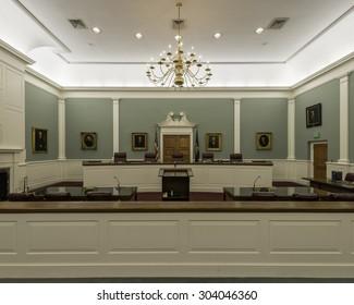 CONCORD, NEW HAMPSHIRE - JULY 29: Supreme court chamber of New Hampshire on July 29, 2015 in Concord, New Hampshire