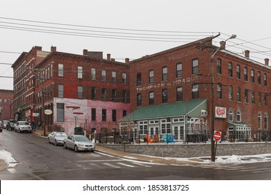 CONCORD, NH, USA - FEBRUARY 18, 2020: Street view of city in New Hampshire NH, USA.
