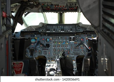 Concorde cockpit view of the flight deck of the supersonic jet at the Intrepid Air and Sea Aviation Museum. Manhattan, New York, USA June 2, 2011.
