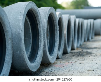 concret pipe stacked sewage water system in a row