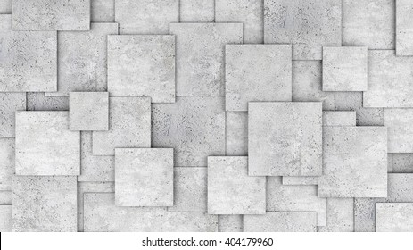 Concrete 3d cube wall as background or wallpaper. 3D rendering