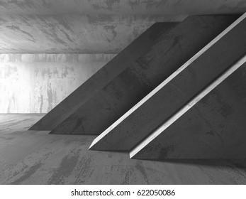 Concrete architecture background. Abstract empty dark room. 3d render illustration