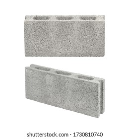 Concrete block or cement block isolated on white with clipping path