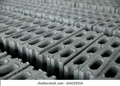 Concrete block, cinder blocks,  breeze blocks, hollow blocks, Besser blocks or Besser bricks wall background, brick texture