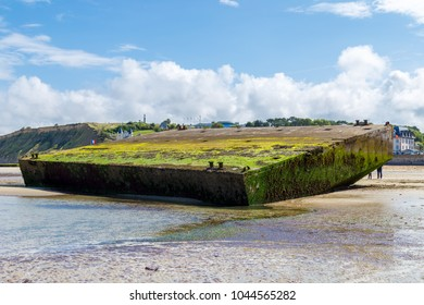 Concrete block close up panoramic, remains of Mulberry Artificial Harbor, Gold Beach World War II, Arromanches, Normandy, France