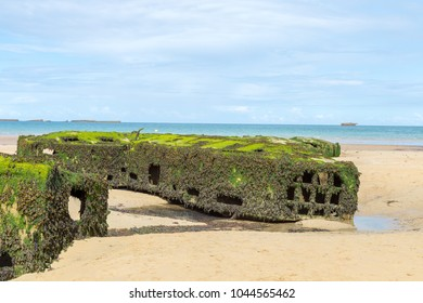 Concrete block close up, remains of Mulberry Artificial Harbor, Gold Beach World War II, Arromanches, Normandy, France