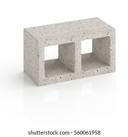Concrete block on a white background isolated