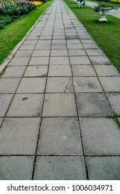 Concrete block pathway in the park