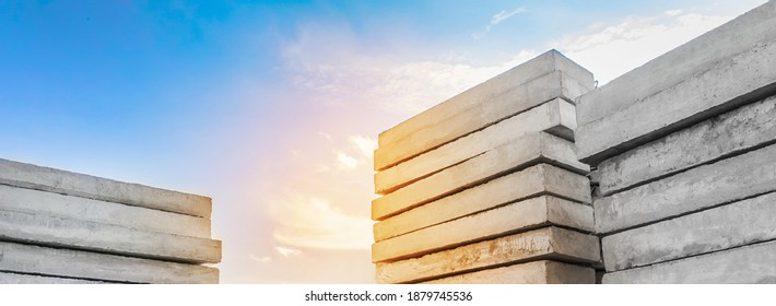 Concrete blocks at a construction site. Concrete structures, industrial, building materials, high resolution - Shutterstock ID 1879745536