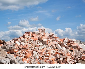 Concrete and brick rubble debris on construction site