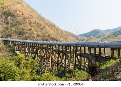 Concrete bridge across the deep gorge in the valley, Thailand