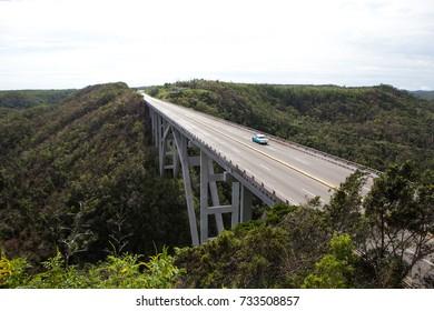 Concrete bridge in Cuba from above