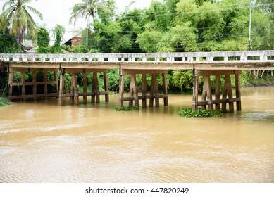 concrete bridge over the river.