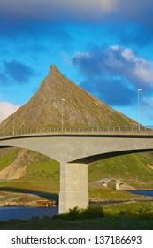 Concrete bridges connecting Lofoten islands in Norway
