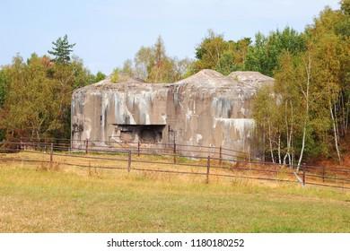 Concrete bunker from pre war era built in Czechoslovakia as a defense line on state borders. Dobrosov, Nachod, Czech republic.