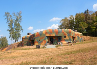 Concrete bunker from pre war era built in Czechoslovakia as a defense line on state borders. Dobrosov, Nachod, Czech republic. - Shutterstock ID 1180180258