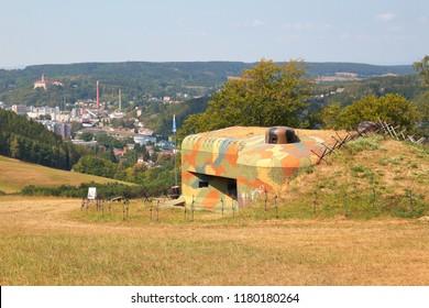 Concrete bunker from pre war era built in Czechoslovakia as a defense line on state borders. Dobrosov, Nachod, Czech republic. - Shutterstock ID 1180180264