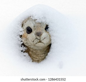 Concrete bunny, a garden decoration, buried in a new winter snow