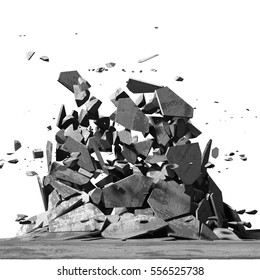 Concrete chaotic fragments of explosion destruction. Abstract background. 3d render illustration