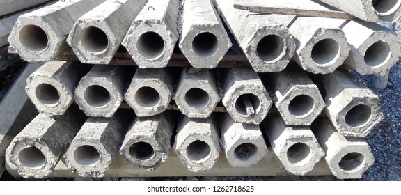 Concrete column hexagon shape middle hollow for construction consists of stone, sand, cement.Used to burrow into the soil for the strength of structure,support weight and force such as tensile,torque.