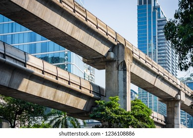 Concrete construction of the skyline train way in Bangkok, Thailand