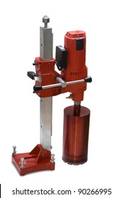 Concrete core drilling machine isolated on a white background