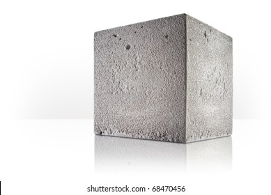 concrete cube over white background