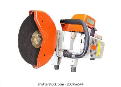 Concrete cutter or circular saws been through the use isolated on white background