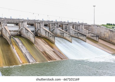 Concrete dam building with water