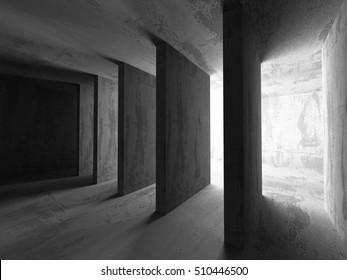 Concrete dark empty room interior. Geometric minimalistic architecture background. 3d render illustration