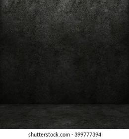 Concrete dark wall and floor. 3D rendering