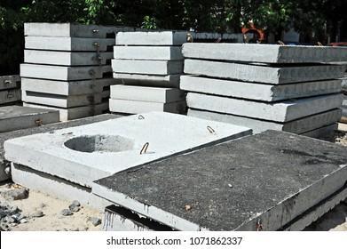 Concrete drain pit block on construction site