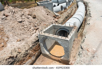 Concrete Drainage Pipe on a Construction Site .Concrete pipe stacked sewage water system aligned on site.