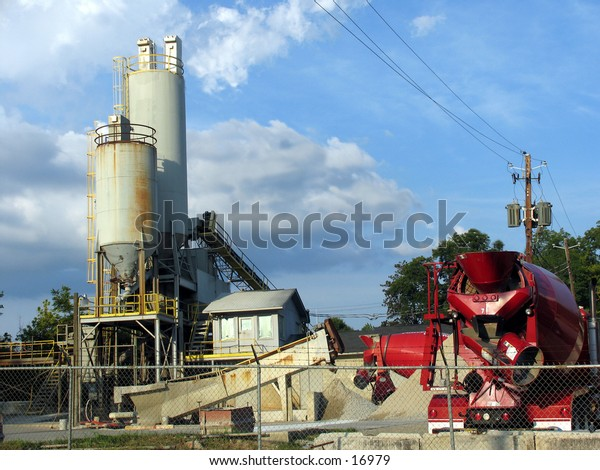 concrete factory and mixer truck