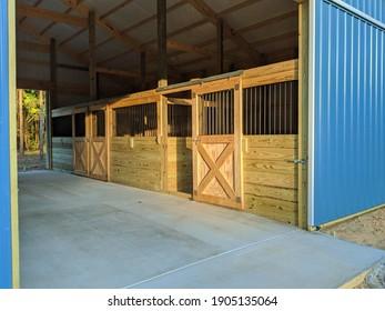 Concrete floor inside Hawaiian blue metal siding horse barn with sunlight shining on custom made wooden stall doors