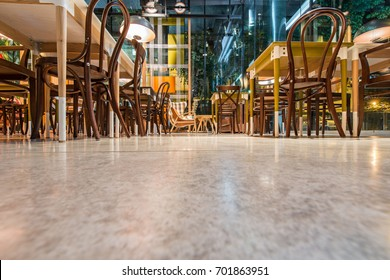 Concrete floor in  modern urban restaurant