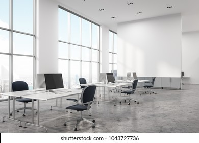 Concrete floor office interior with white walls and computer desks. Panoramic windows and a screen. A corner. 3d rendering mock up