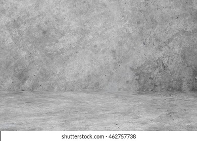 Concrete floor and wall with dirty old cement texture. old grungy texture, grey concrete wall and floor