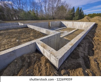 Concrete foundation for a new house