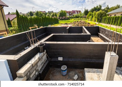 Concrete foundation of a new house