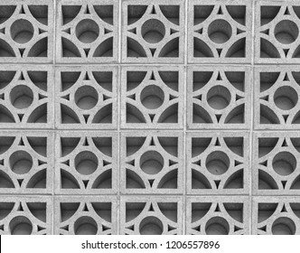 Concrete Geometric Cinder Block Wall.