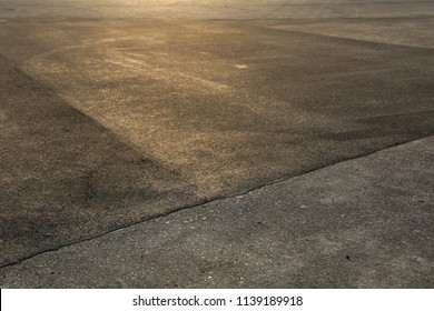 concrete Ground in the yellow evening sung