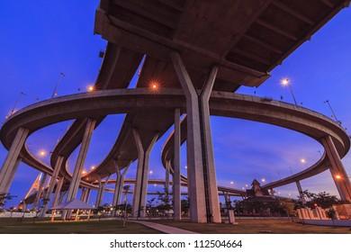 Concrete highway overpass