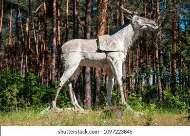 Concrete installation of elk in abandoned soviet pioneer camp