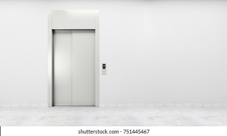 Concrete interior with lift and copy space on blank wall. Success, startup, entrepreneurship concept. Mock up, 3D Rendering