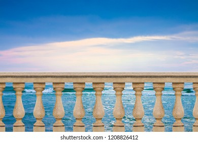 Concrete italian balustrade against a calm sea in a sunny day - concept image with copy space