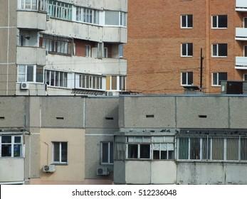 Concrete jungle background. Typical apartment buildings