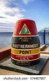 The concrete marker at the Southernmost point in the united states in Key West, Florida