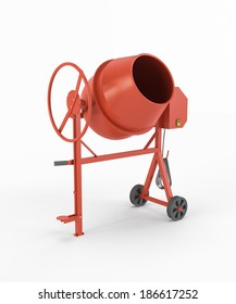 Concrete mixer isolated on white background